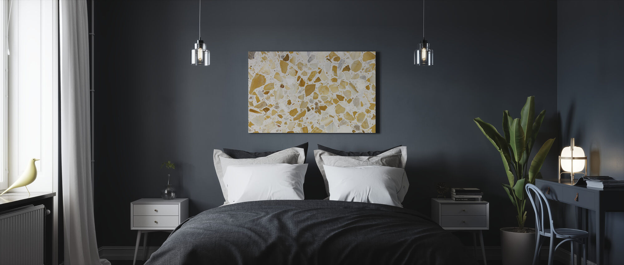 Orange Terrazzo Pattern - Canvas print - Bedroom