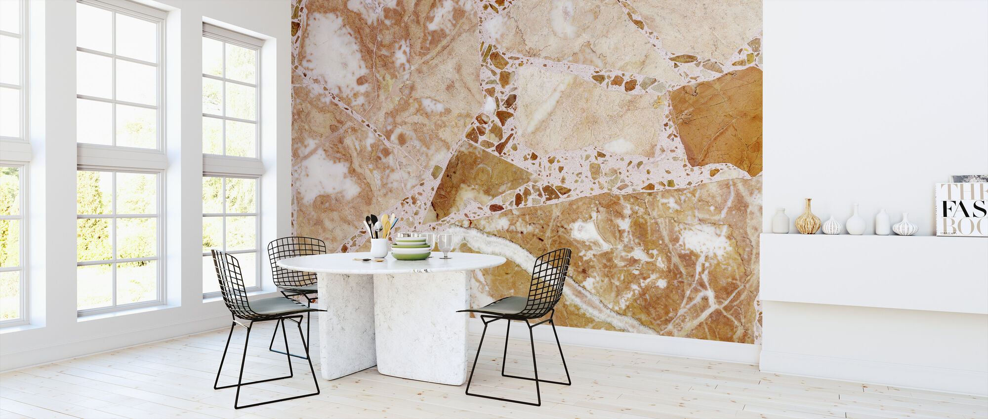 Orange Terrazzo - Wallpaper - Kitchen