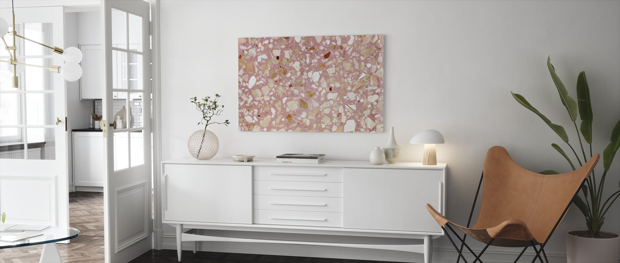 Pink Terrazzo Texturae - Canvastavla - Vardagsrum