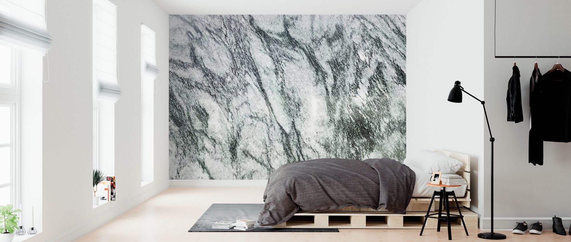 White and Green Marble - Wallpaper - Bedroom