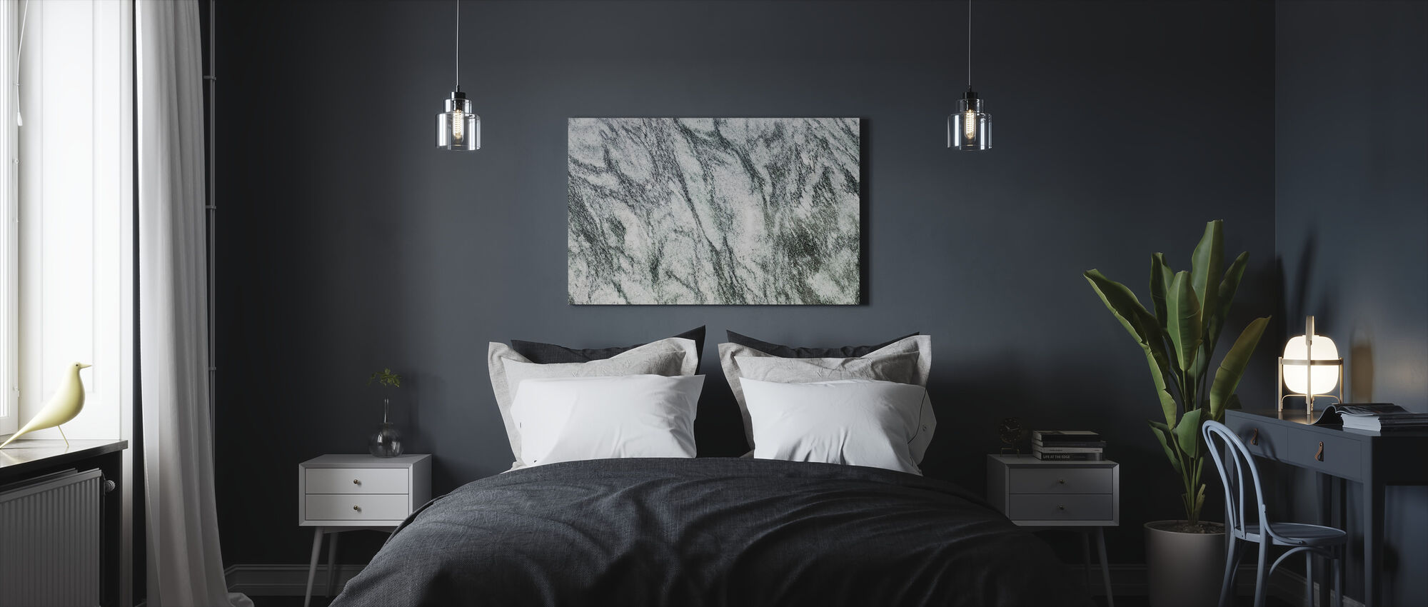 White and Green Marble - Canvas print - Bedroom