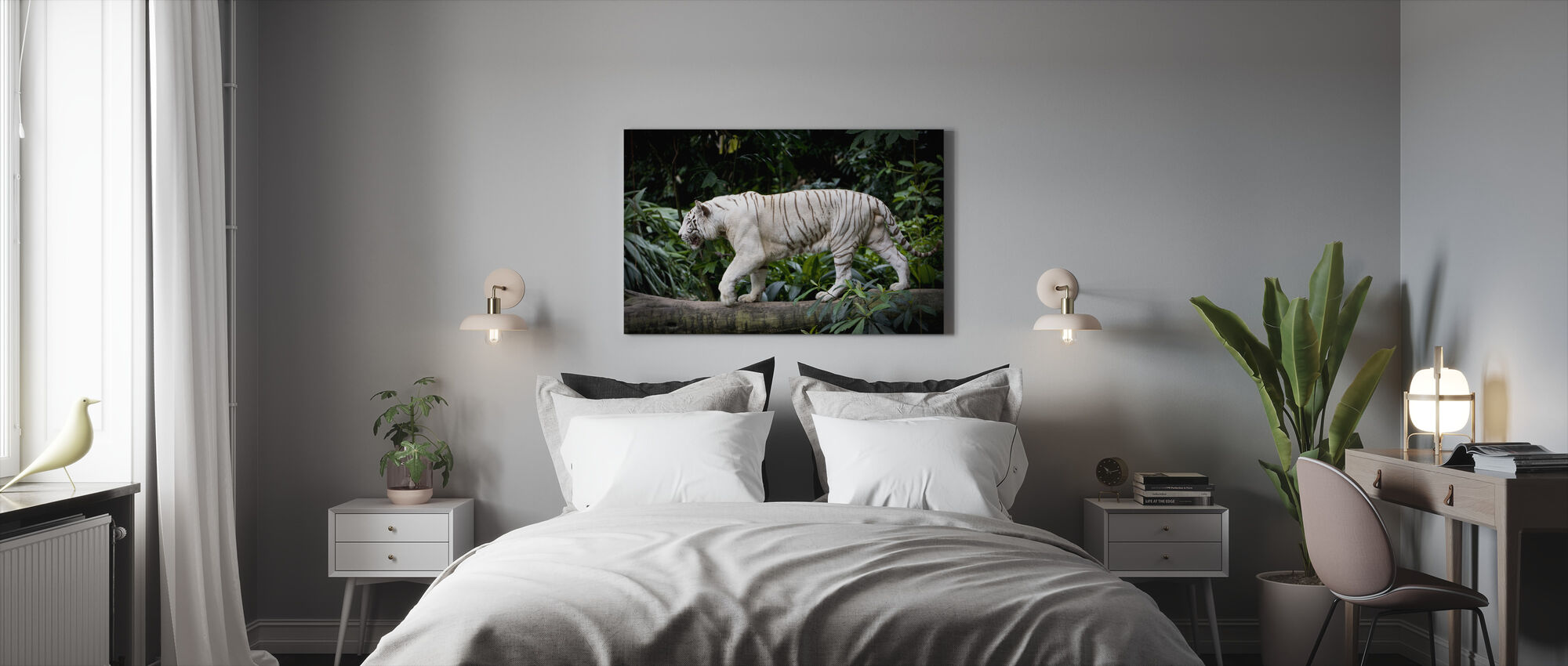 Male White Tiger - Canvas print - Bedroom