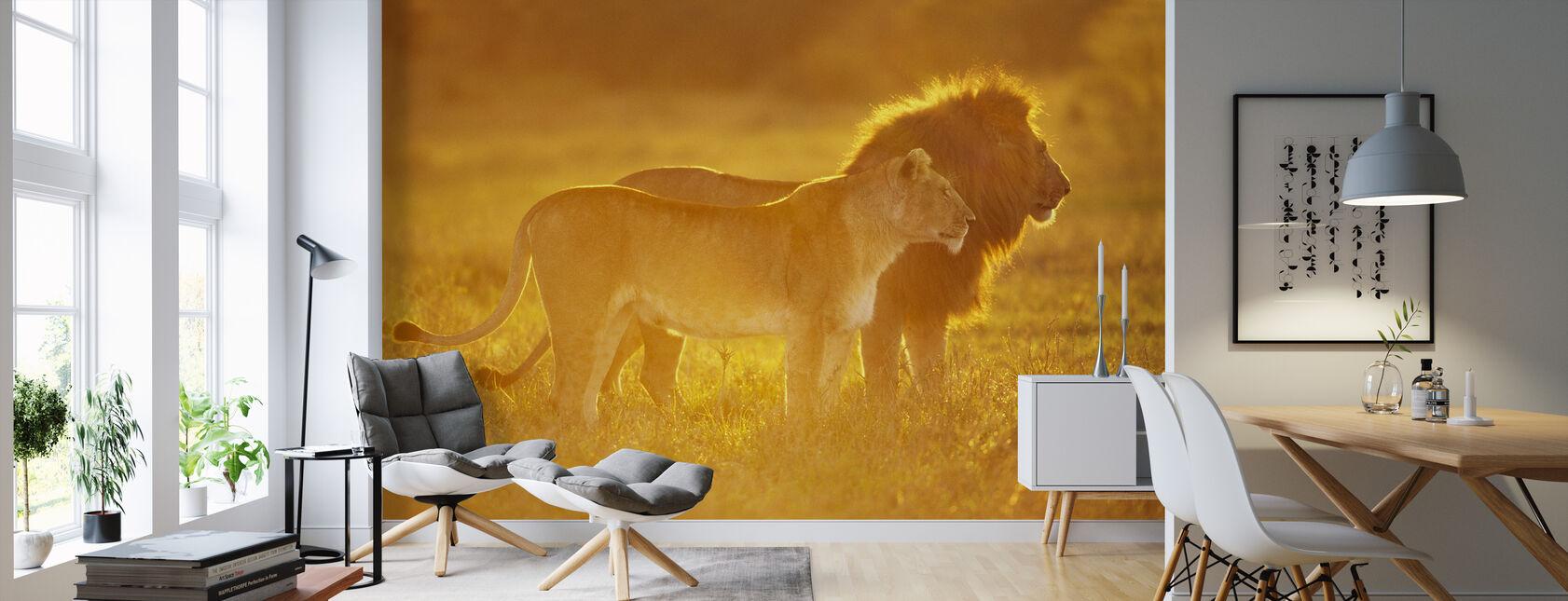 Mannlig og kvinnelig Løve - Tapet - Stue