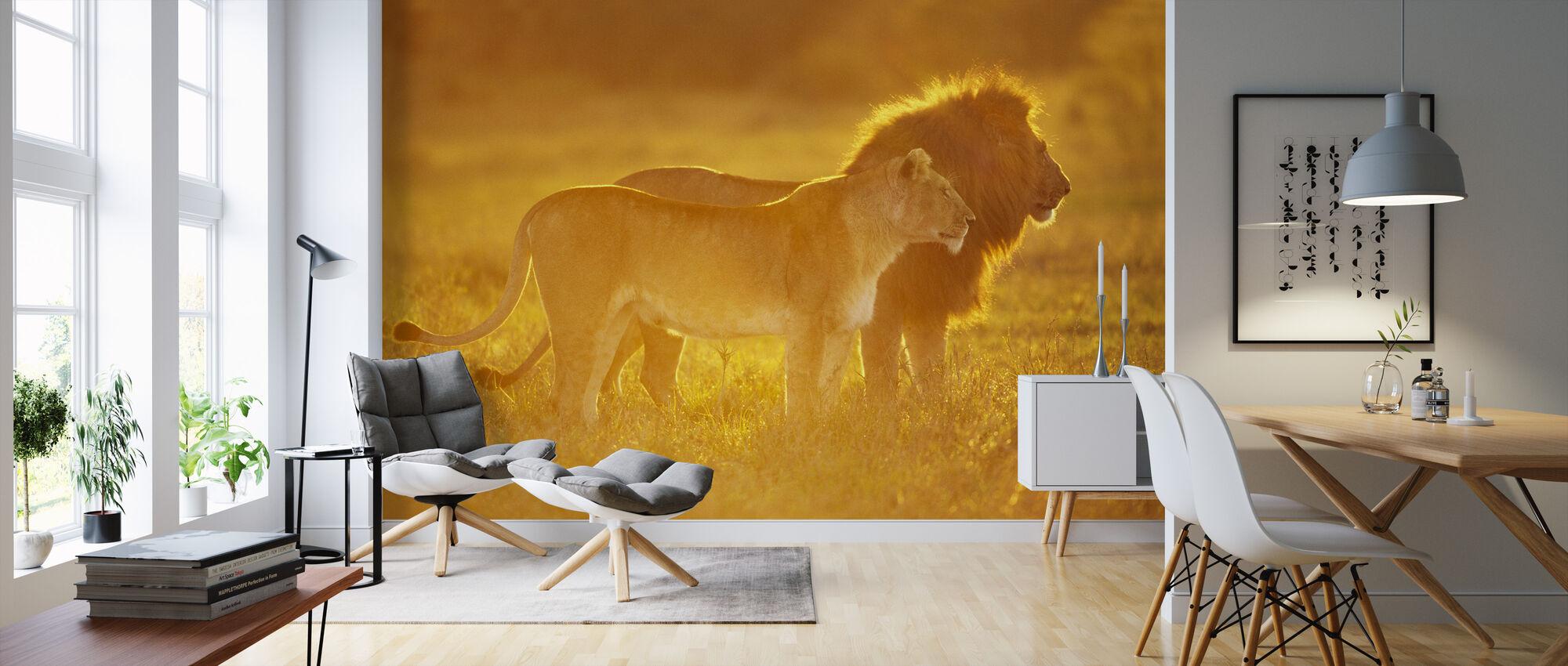 Mannelijke en Vrouwelijke Leeuw - Behang - Woonkamer