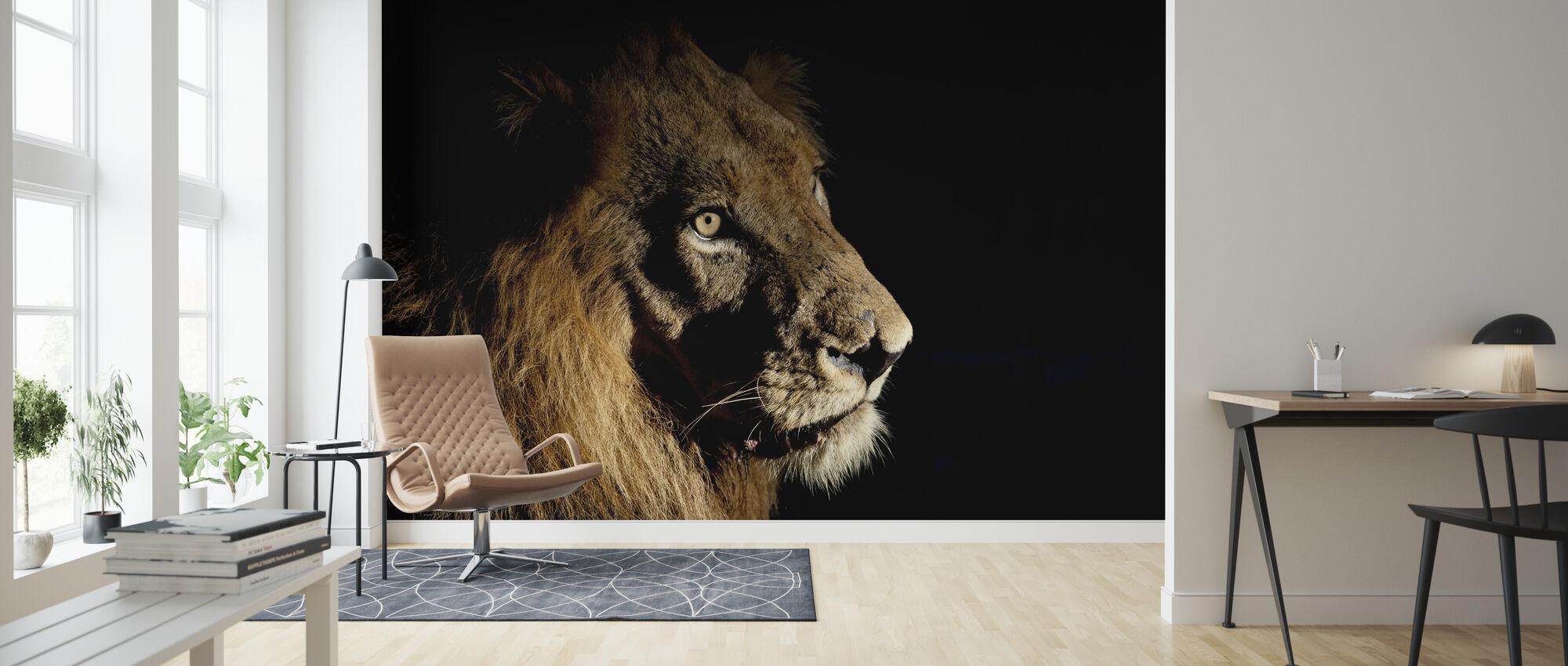 Leeuw op Spot Licht - Behang - Woonkamer