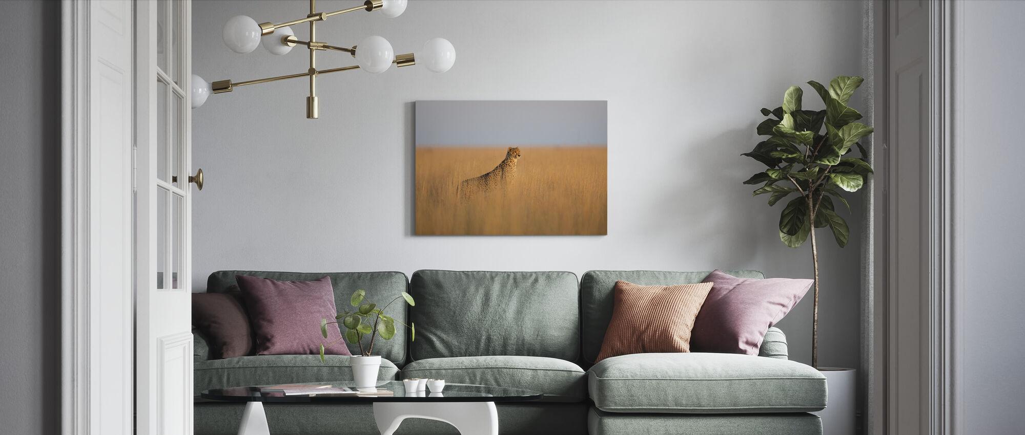 Cheetah in Long Grass - Canvas print - Living Room