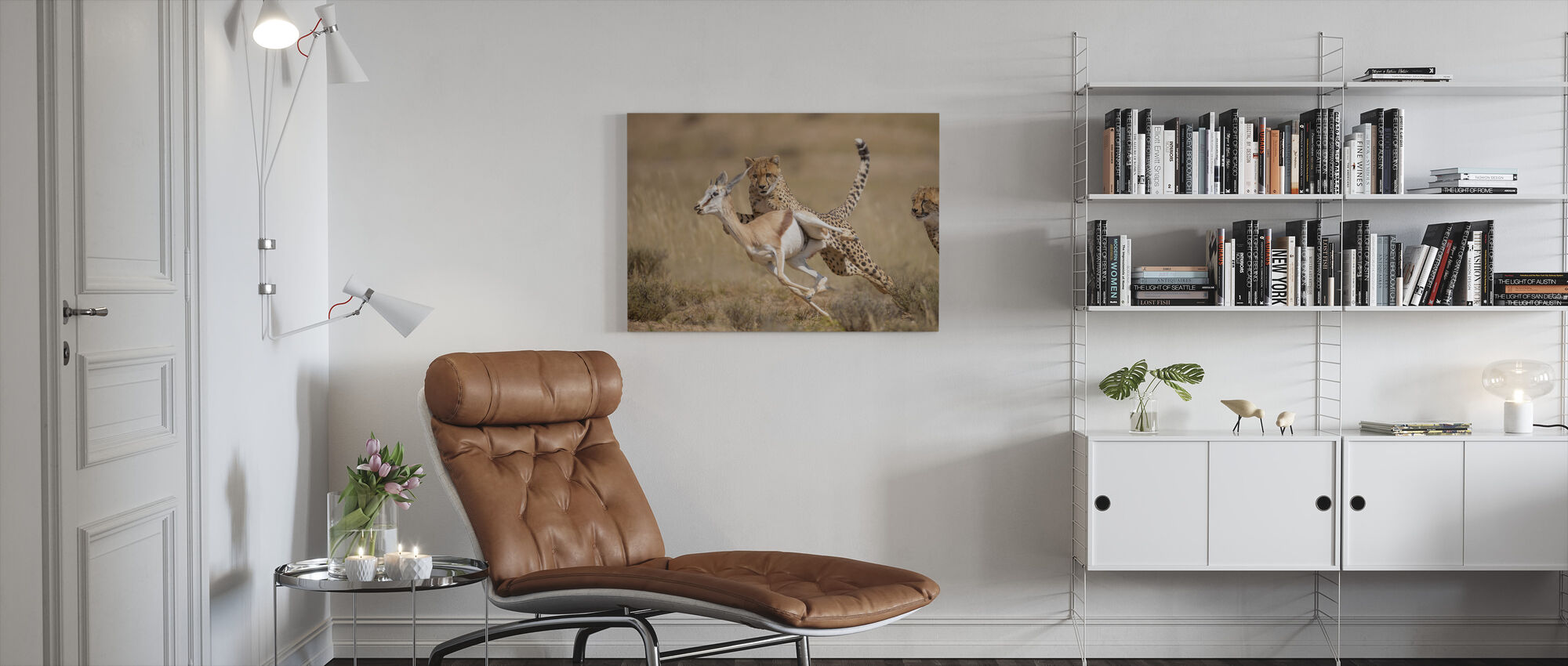 Cheetah Hunting Springbok - Canvas print - Living Room