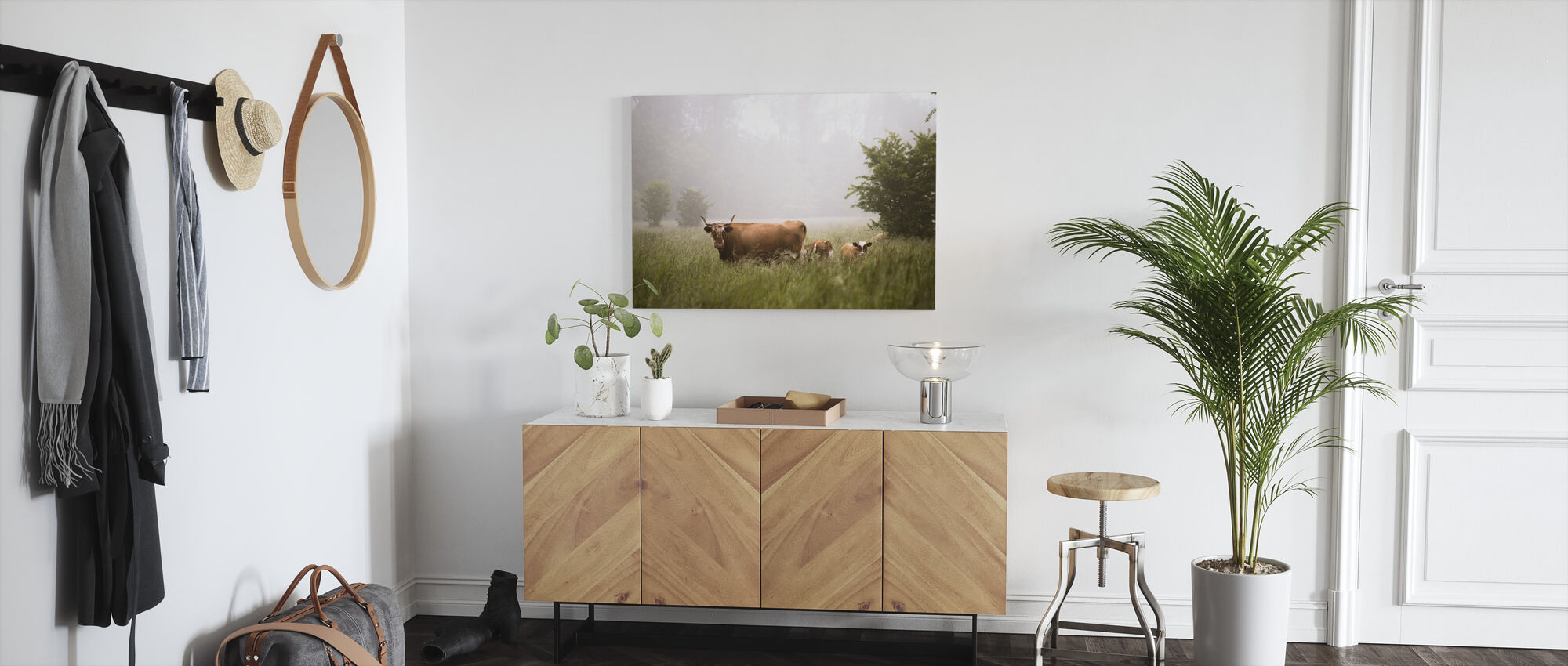 Catle in Meadow - Canvas print - Hallway