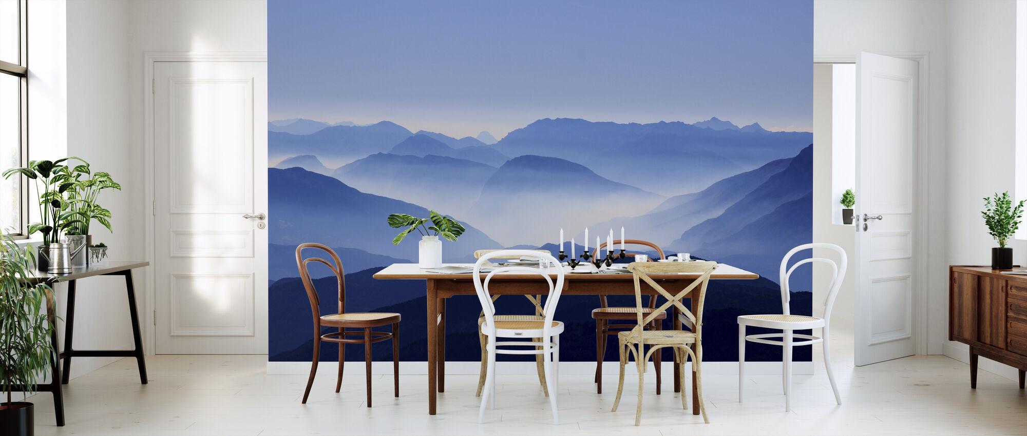 Blauwe Uitzicht op de bergen - Behang - Keuken