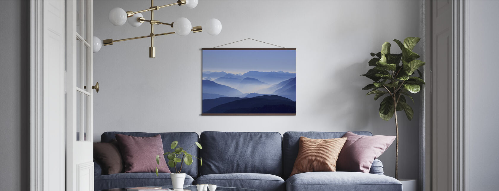 Blue Mountain View - Poster - Living Room