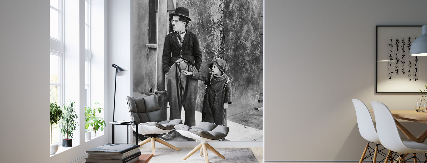 Charlie Chaplin und Jackie Coogan in der Kid - Tapete - Wohnzimmer