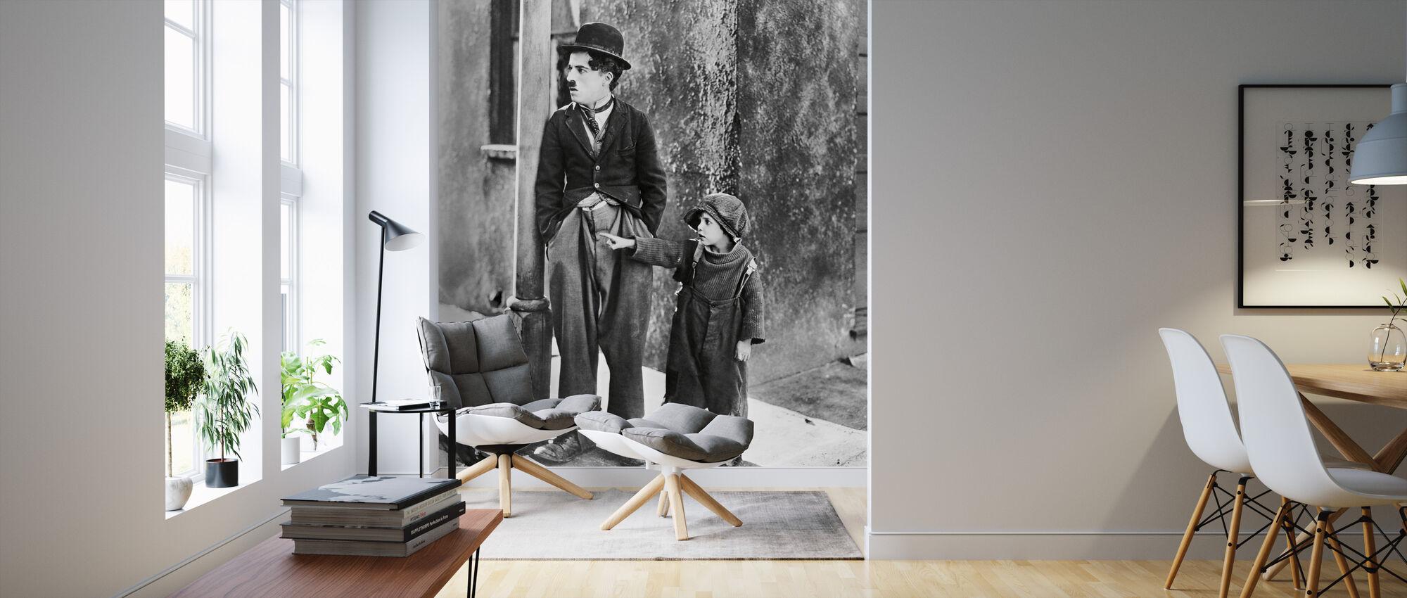 Charlie Chaplin en Jackie Coogan in de Kid - Behang - Woonkamer