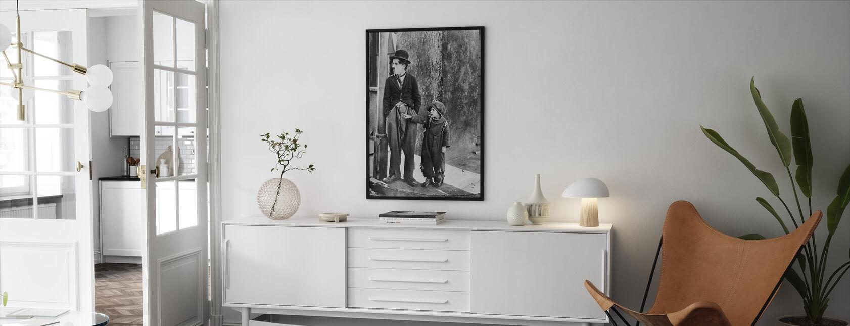 Charlie Chaplin og Jackie Coogan i Kid - Indrammet billede - Stue