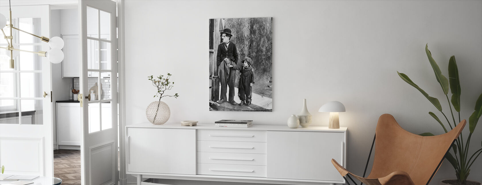 Charlie Chaplin and Jackie Coogan in the Kid - Canvas print - Living Room