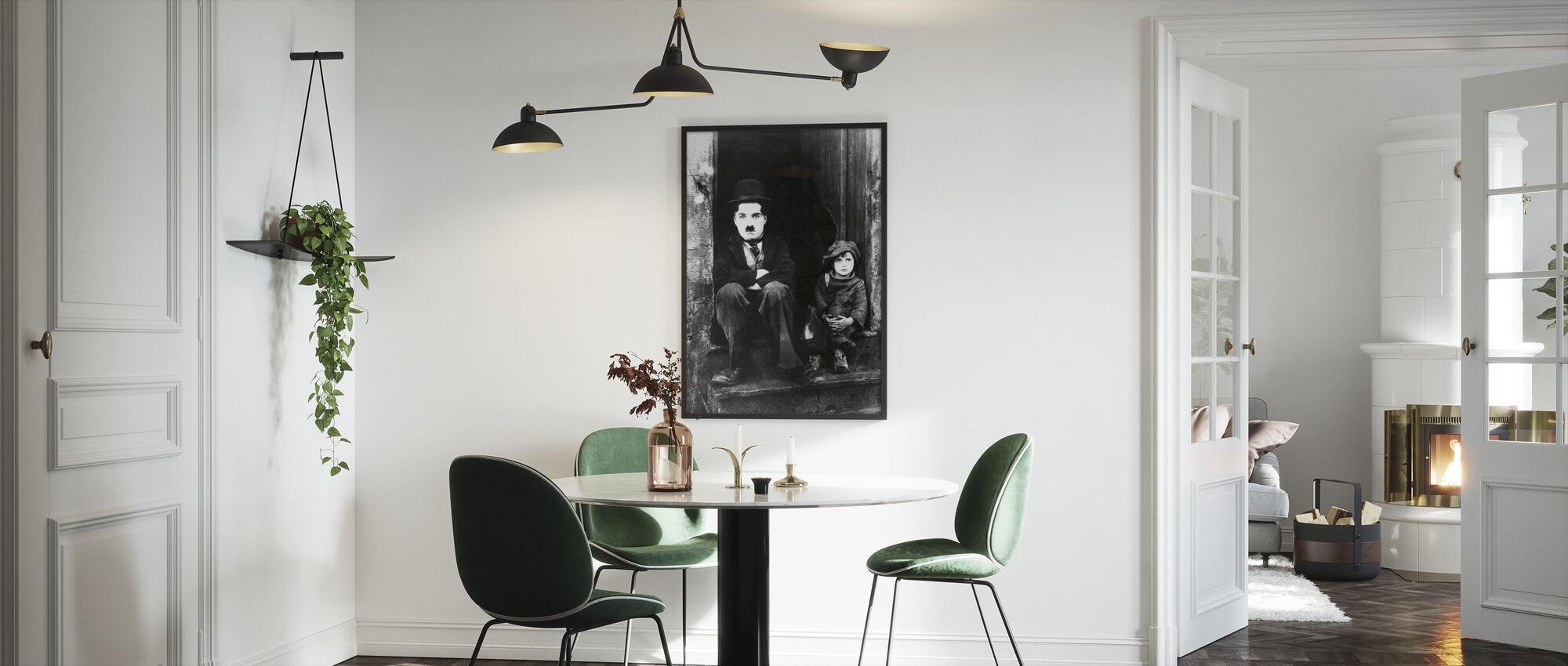 Charlie Chaplin og Jackie Coogan - Innrammet bilde - Kjøkken