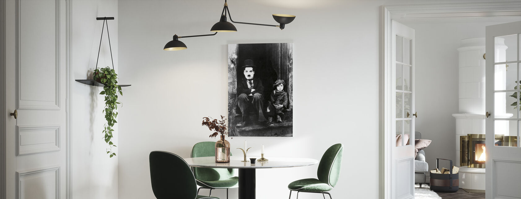 Charlie Chaplin og Jackie Coogan - Lerretsbilde - Kjøkken