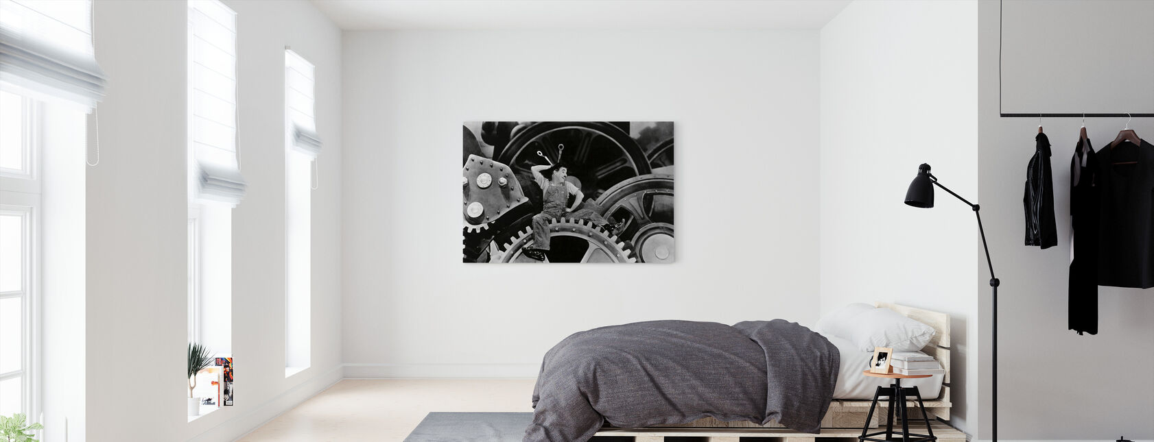 Charlie Chaplin in Modern Times - Canvas print - Bedroom
