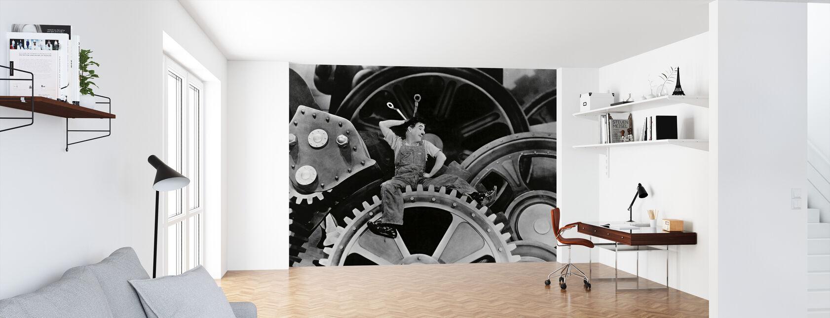 Charlie Chaplin dans les temps modernes - Papier peint - Bureau