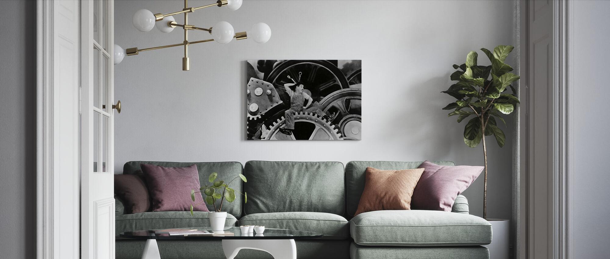 Charlie Chaplin in Modern Times - Canvas print - Living Room