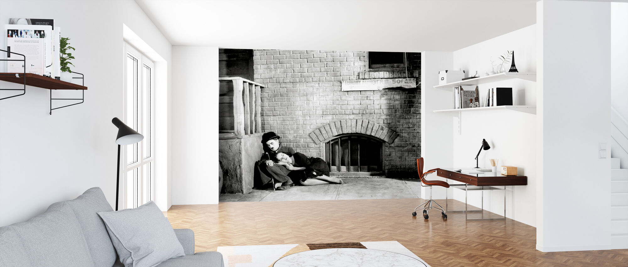 Charlie Chaplin ja Paulette Goddard Modern Times - Tapetti - Toimisto