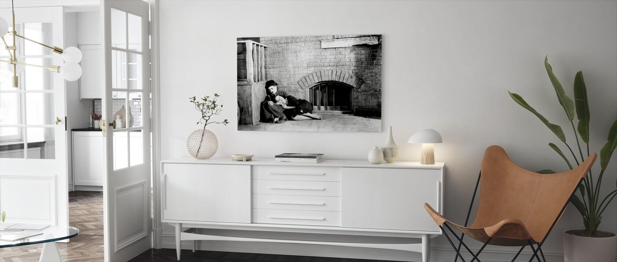 Charlie Chaplin og Paulette Goddard i moderne tid - Lerretsbilde - Stue