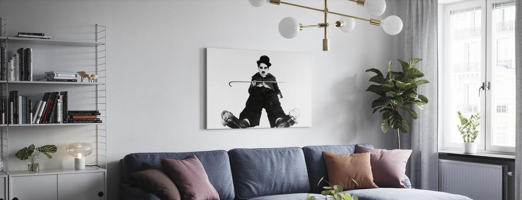 Charlie Chaplin na lodowisku - Obraz na płótnie - Pokój dzienny