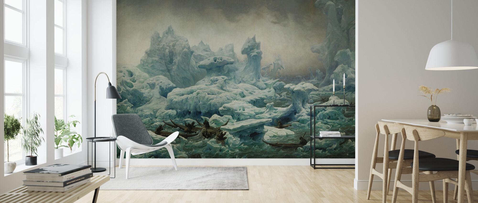 View of the Polar Sea Greenlanders Hunting Walrus - Wallpaper - Living Room