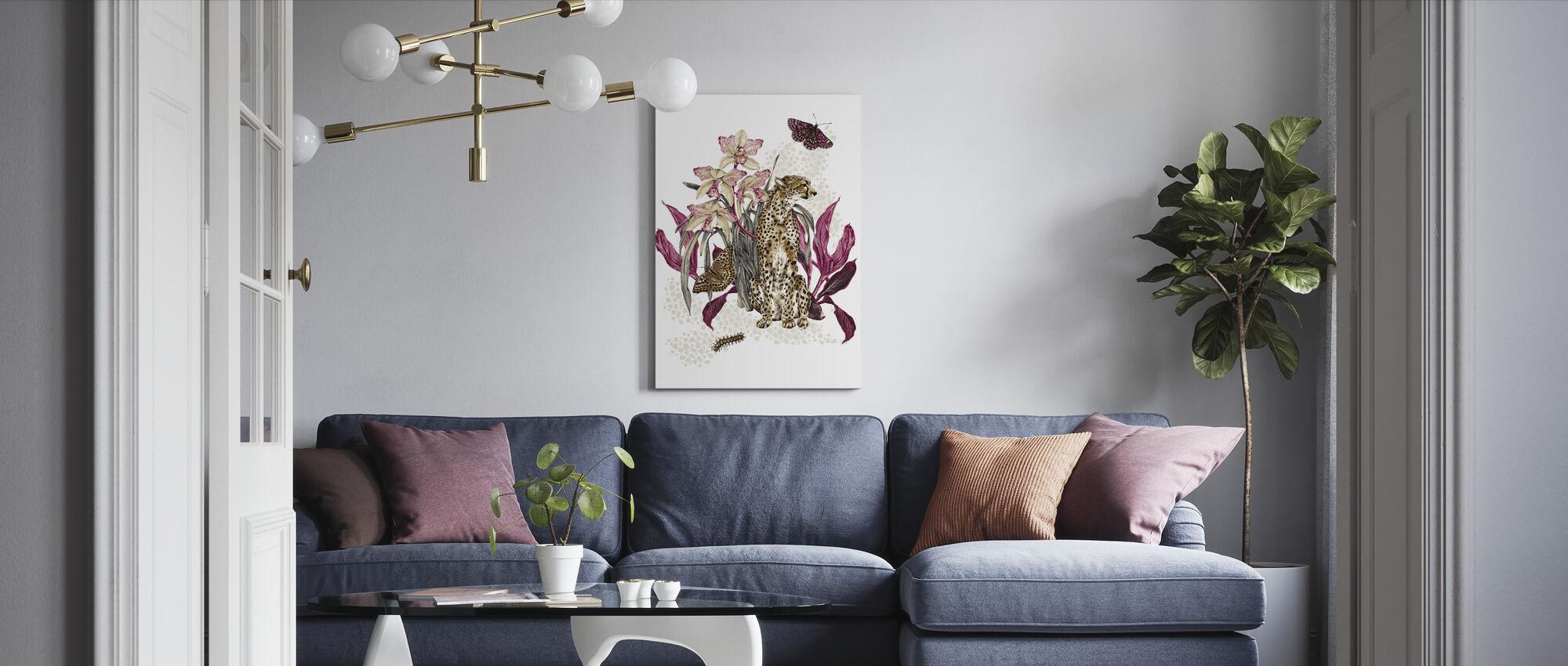 Cheetah Reveries - Cognac and Fuschia - Canvas print - Living Room