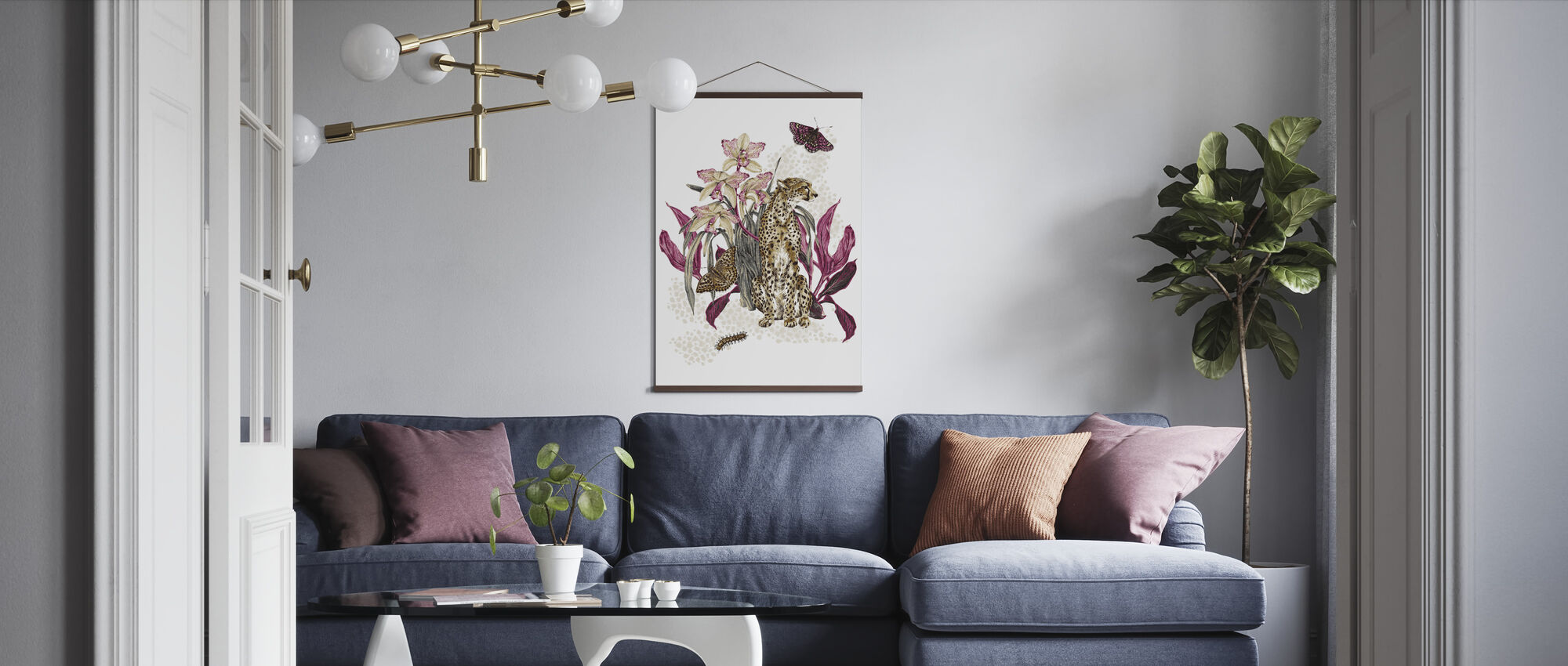 Cheetah Reveries - Cognac and Fuschia - Poster - Living Room