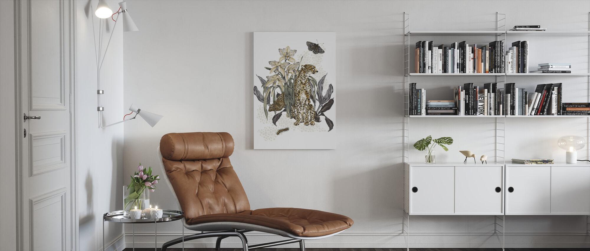 Cheetah Reveries - Cognac and Steel - Canvas print - Living Room