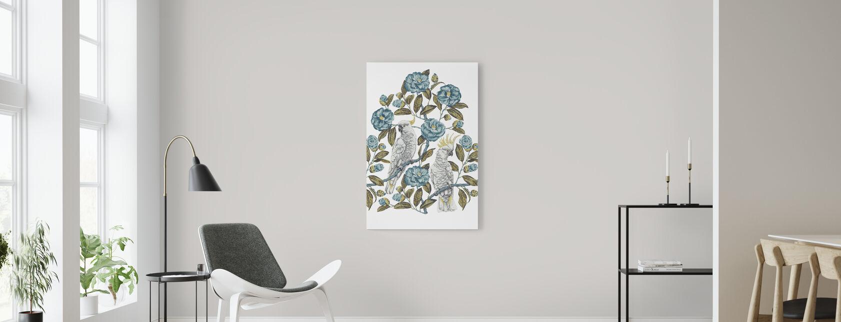 Cockatoo Paradise - Aquatic and Olive - Canvas print - Living Room