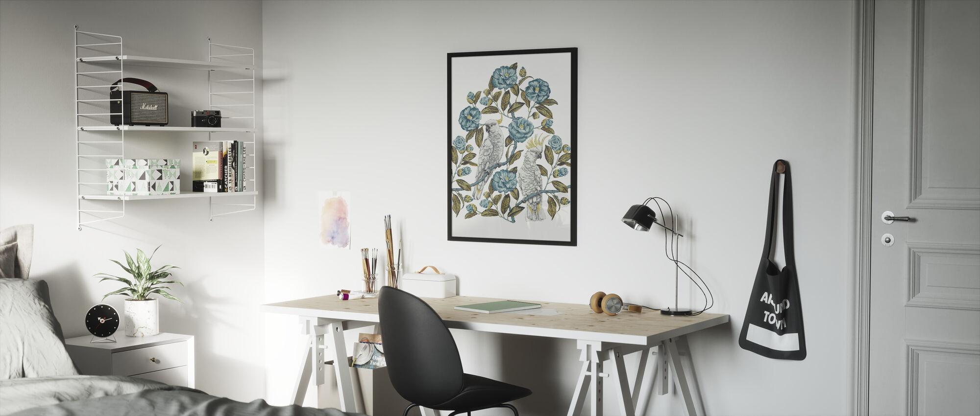 Cockatoo Paradise - Aquatic and Olive - Framed print - Kids Room