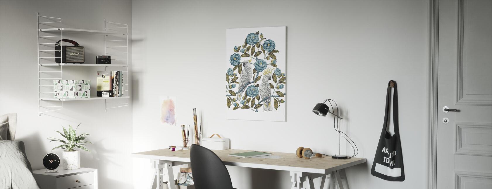 Cockatoo Paradise - Aquatic and Olive - Canvas print - Kids Room