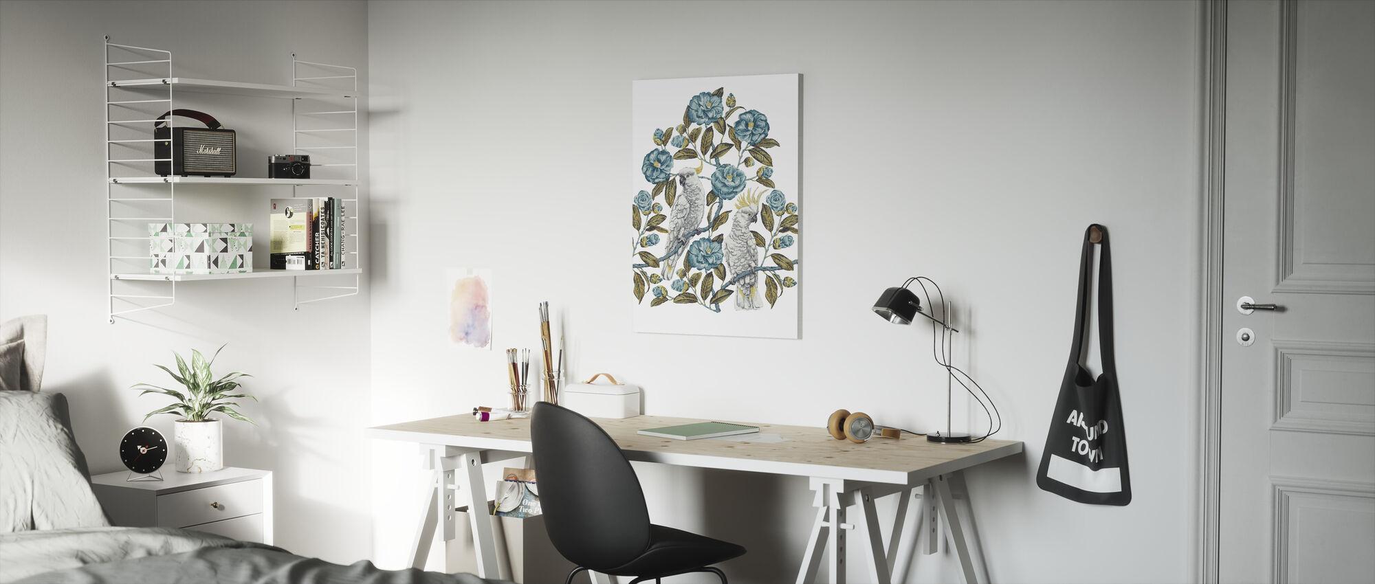 Kaketoe Paradijs - Aquatic en Olijf - Canvas print - Kinderkamer