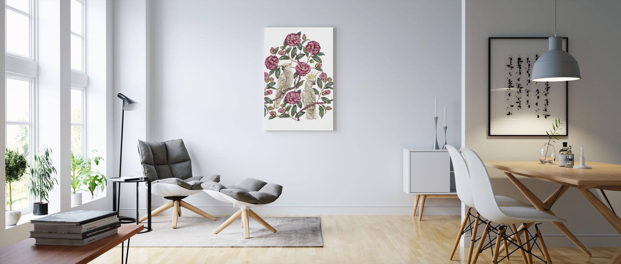 Cockatoo Paradise - Geranium and Emerald - Canvas print - Living Room