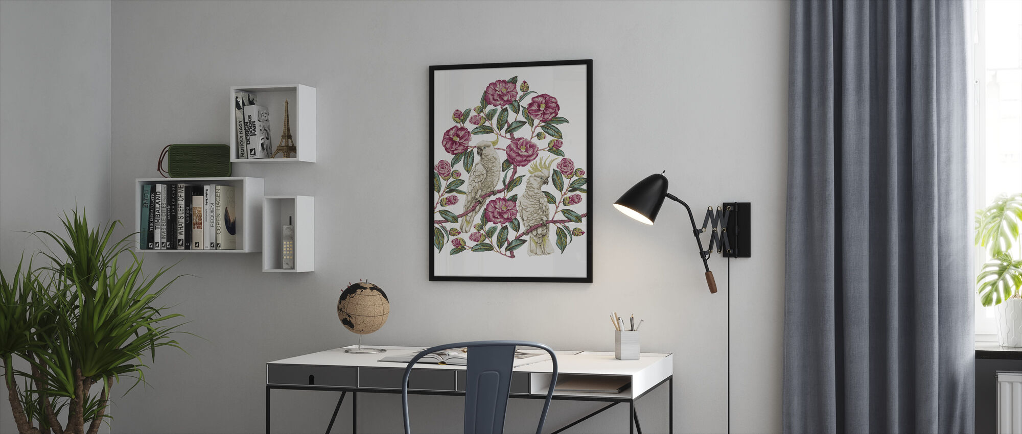 Cockatoo Paradise - Geranium and Emerald - Framed print - Office