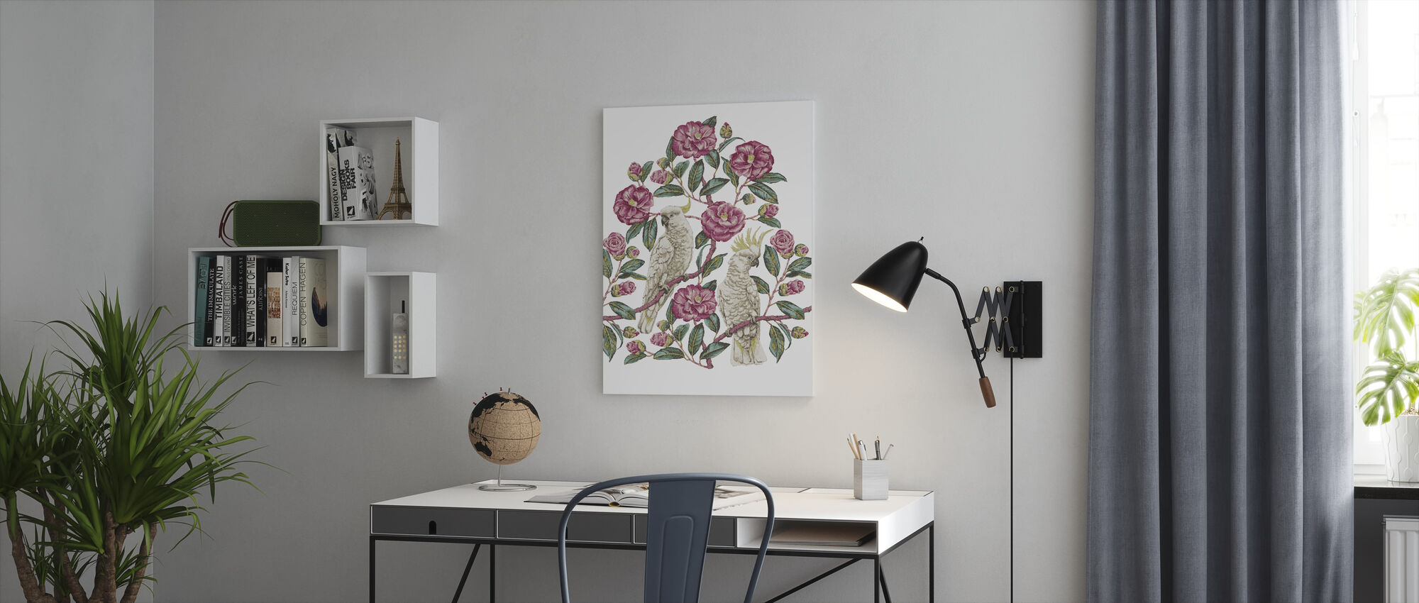 Kakadua paradis - Geranium och smaragd - Canvastavla - Kontor