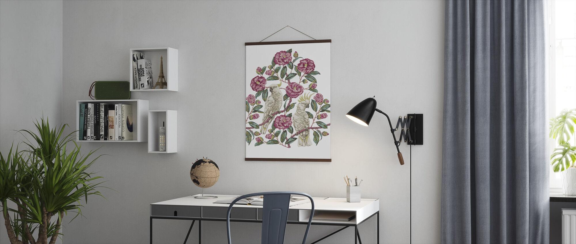 Cockatoo Paradise - Geranium and Emerald - Poster - Office