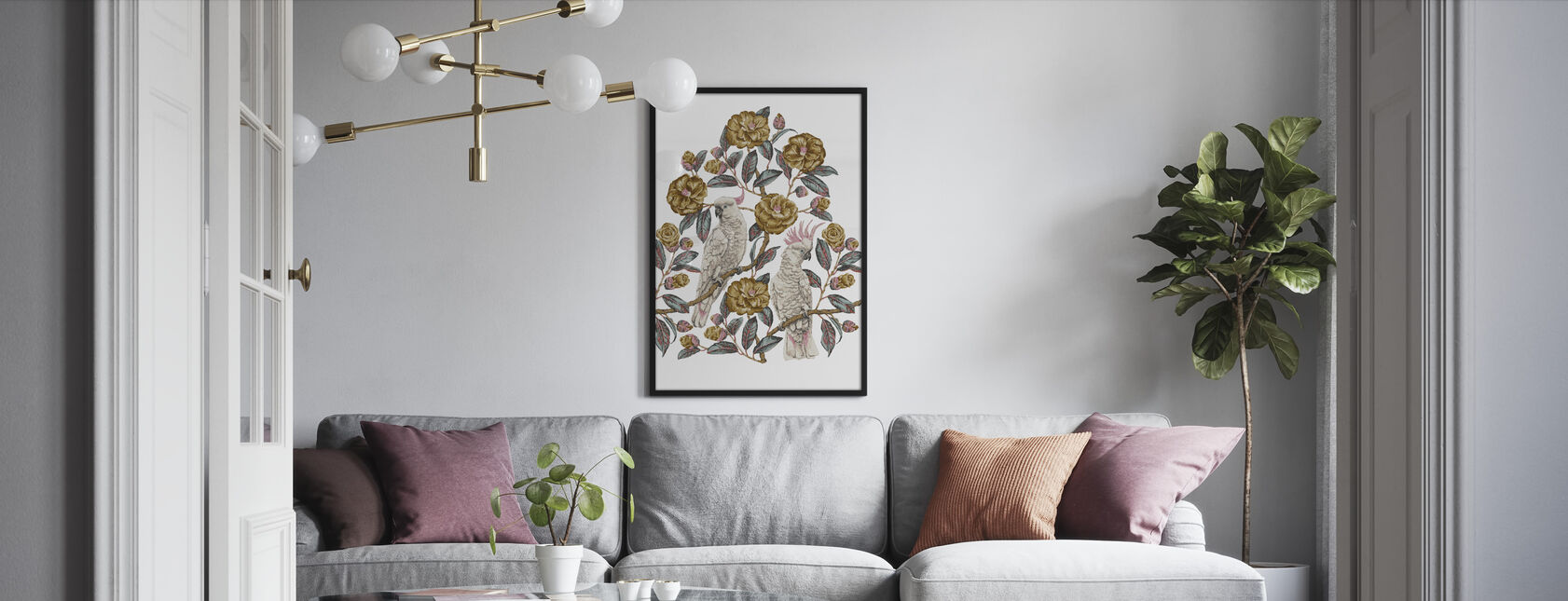 Cockatoo Paradise - Honey and Silver - Framed print - Living Room