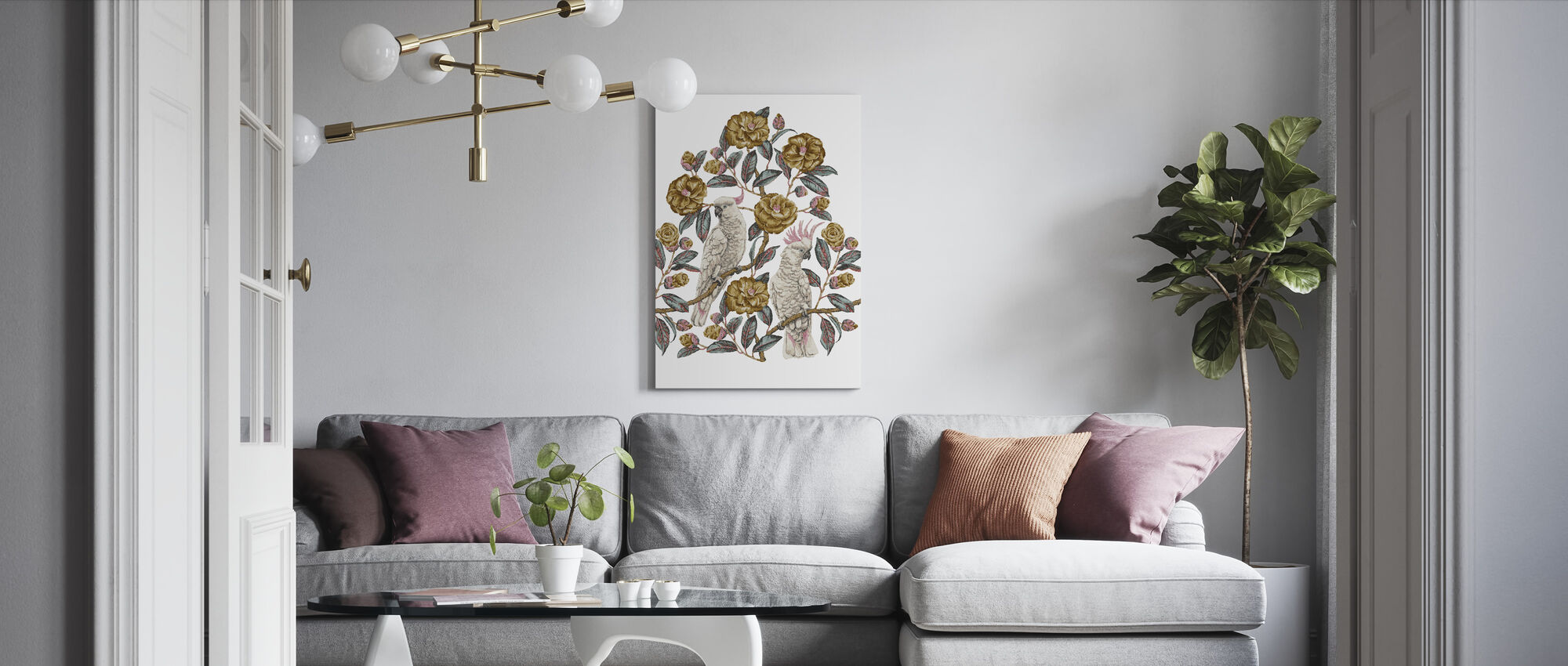 Cockatoo Paradise - Honey and Silver - Canvas print - Living Room