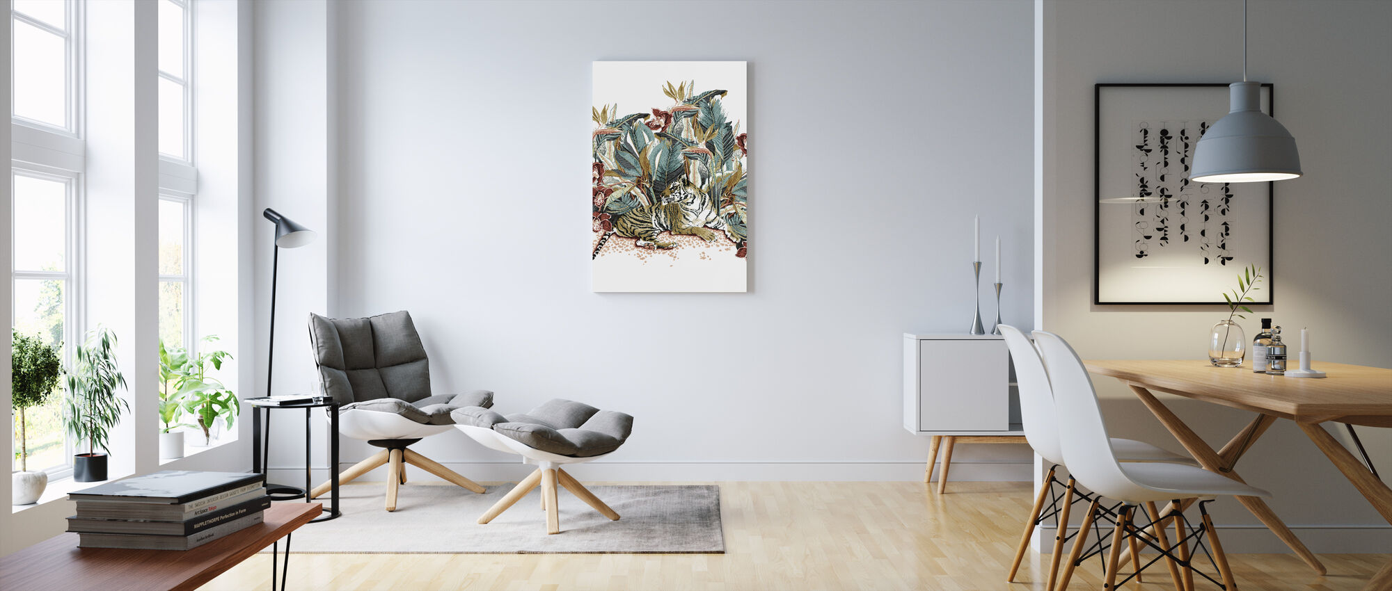 Resting Tigress - Burnt Orange and Teal - Canvas print - Living Room
