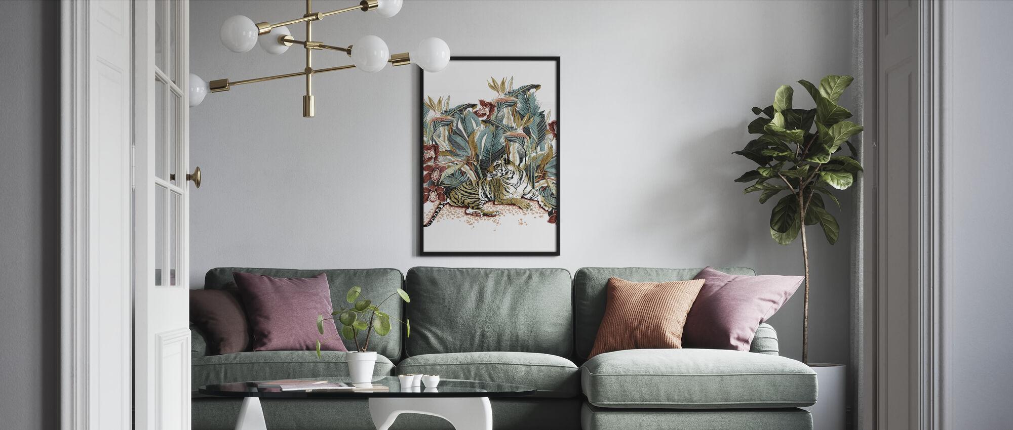 Resting Tigress - Burnt Orange and Teal - Framed print - Living Room