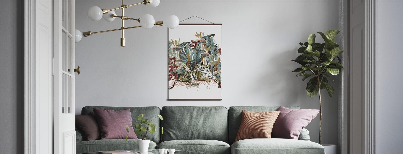 Resting Tigress - Burnt Orange and Teal - Poster - Living Room