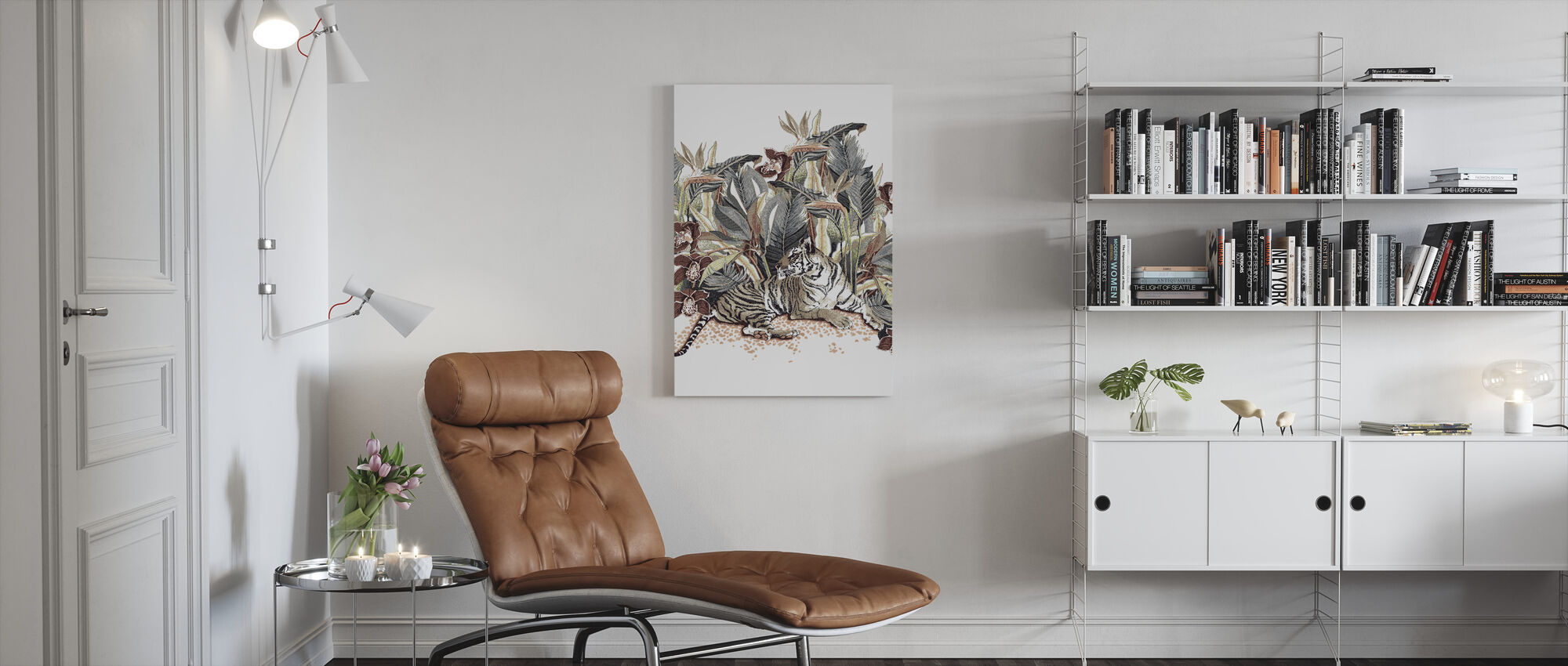 Resting Tigress - Chocolate and Steel - Canvas print - Living Room