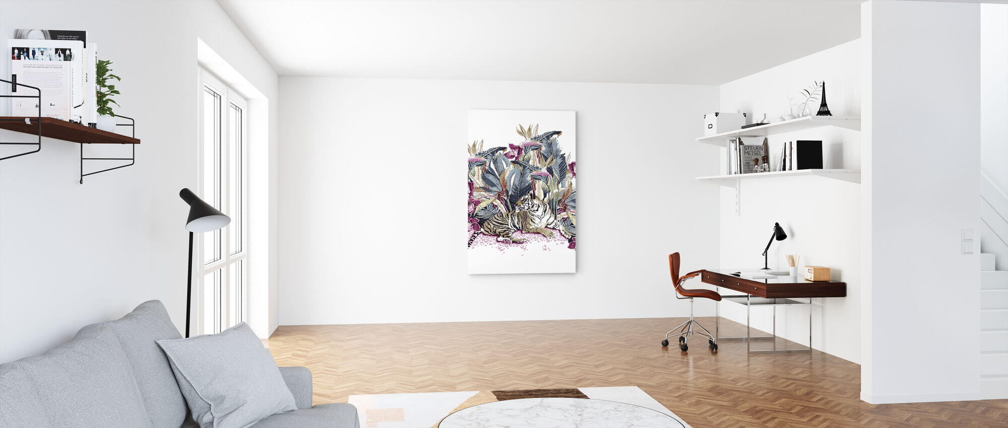 Resting Tigress - Bright Beet and Dark Denim - Canvas print - Office