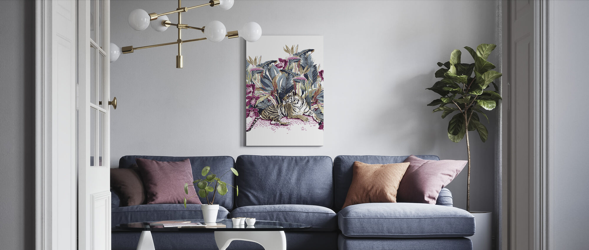 Resting Tigress - Bright Beet and Dark Denim - Canvas print - Living Room