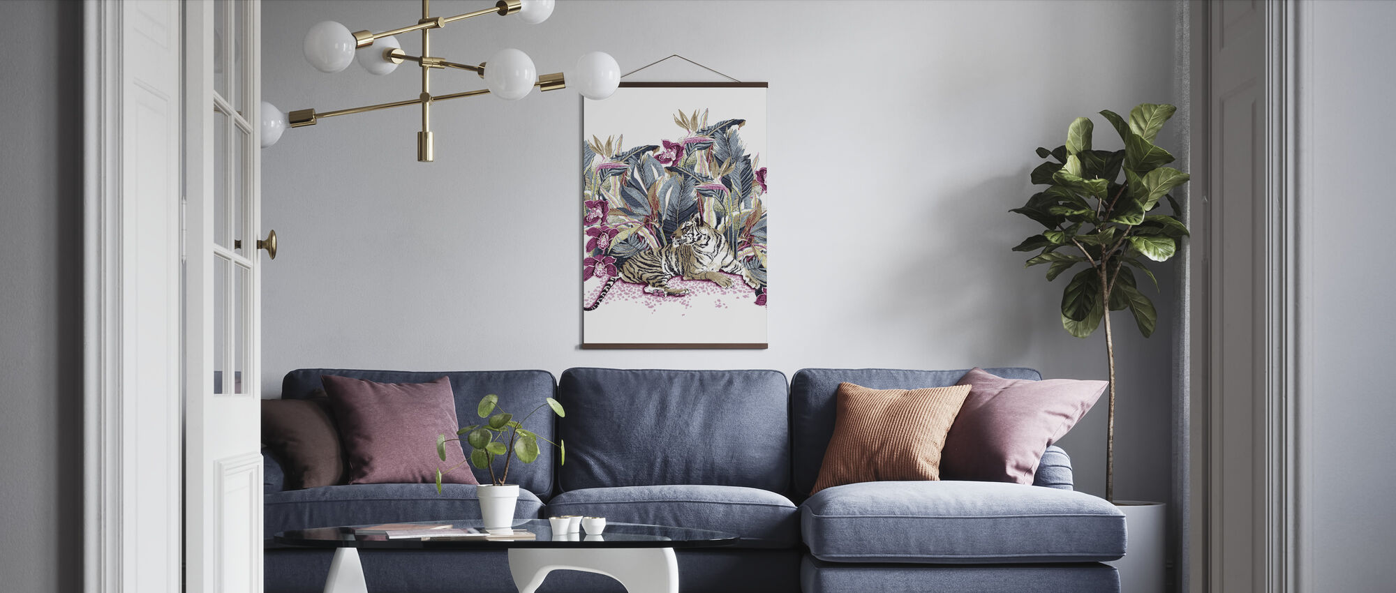 Resting Tigress - Bright Beet and Dark Denim - Poster - Living Room