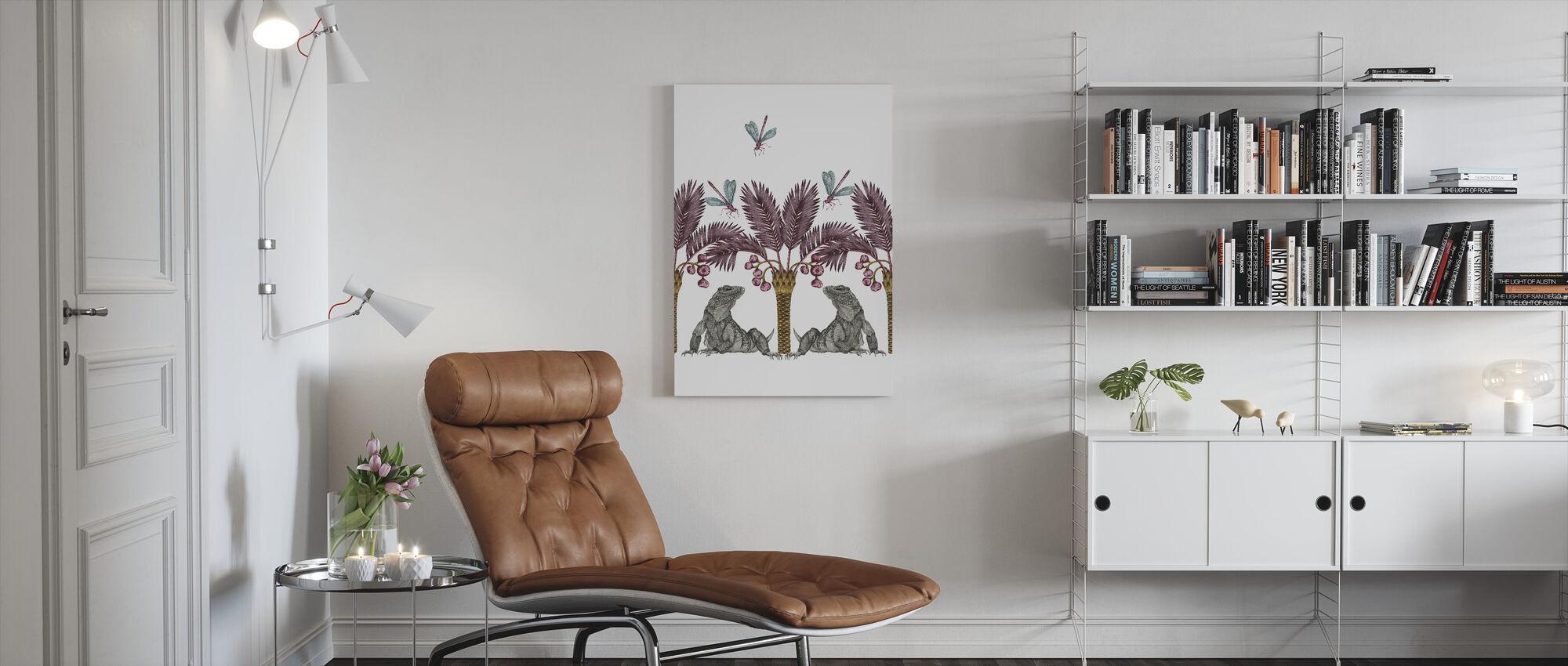 Iguana Dream - Aubergine and Candy - Canvas print - Living Room