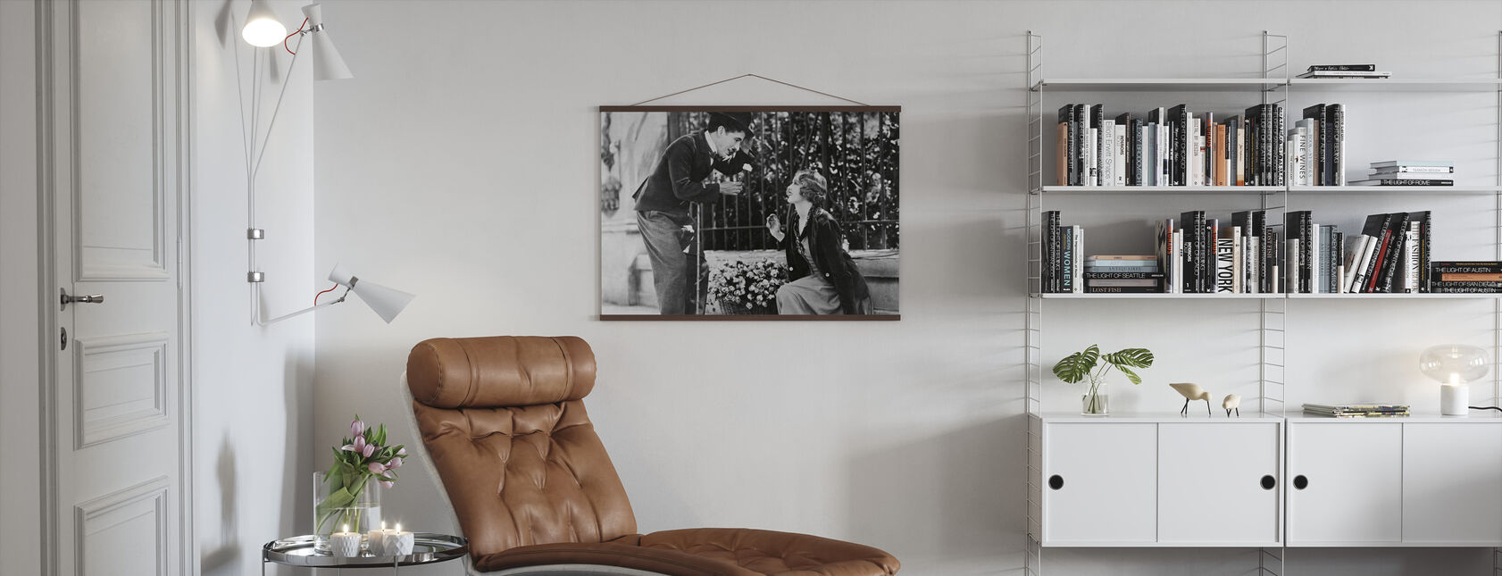 Charlie Chaplin and Virginia Cherrill in City Lights - Poster - Living Room