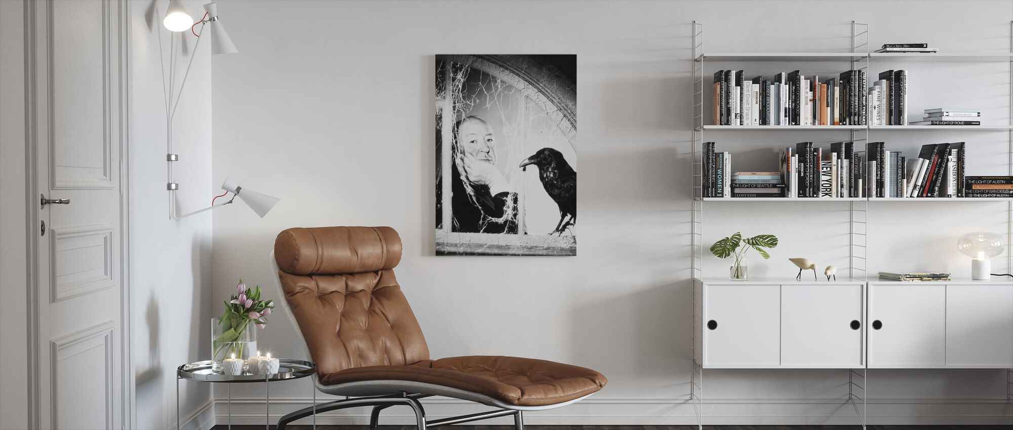 Alfred Hitchcock in the Birds - Canvas print - Living Room